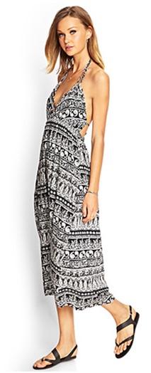black white print midi dress