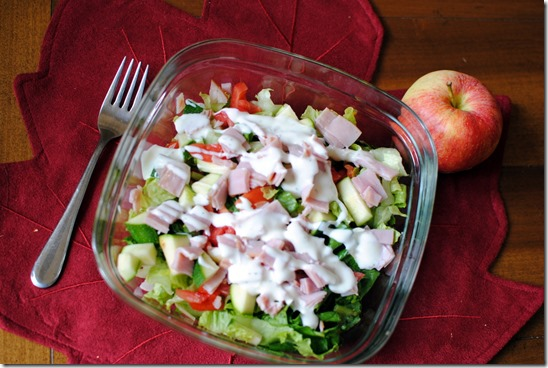 salad with ham and ranch