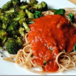 whole wheat linguine with spinach and broccoli