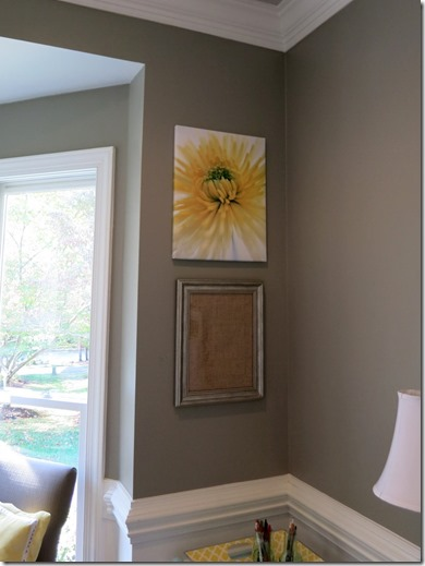 DIY dry erase board - Frame a piece of burlap fabric and use it as a dry erase board