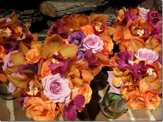 Orange and Purple wedding flowers