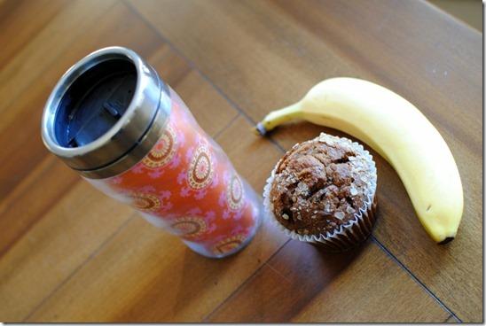banana and muffin breakfast