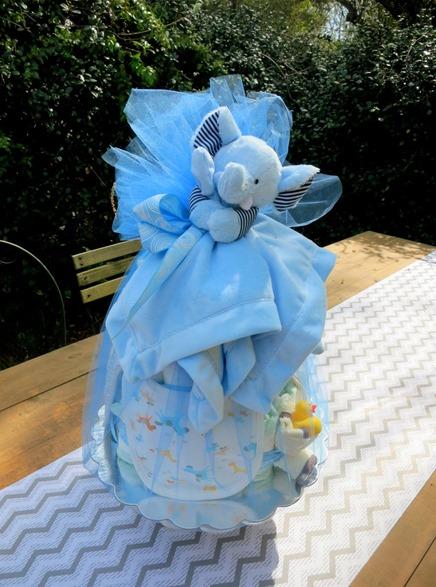 homemade baby shower diaper cake