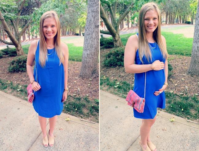 blue maternity shift dress