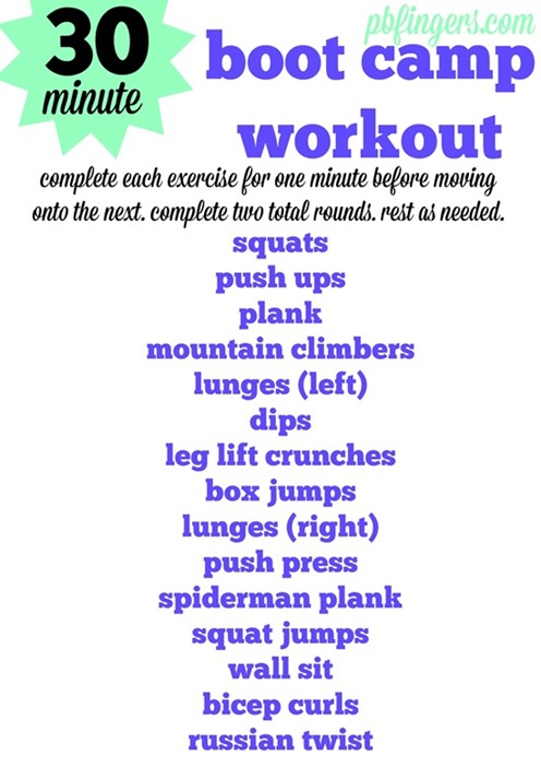 30 Minute Boot Camp Workout -- Cardio, arms, legs and abs