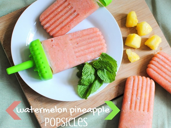 Easy Watermelon Pineapple Popsicles -- Only 60 calories and so delicious!