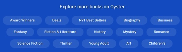 Oyster Book Categories