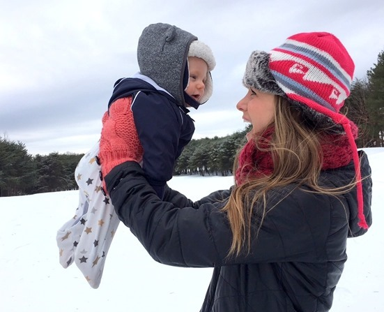 Mom and Baby Snow Day