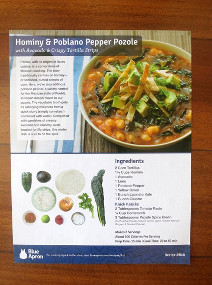 Blue Apron Recipe Card
