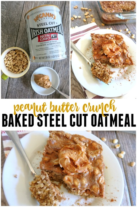 Peanut Butter Crunch Baked Steel Cut Oatmeal