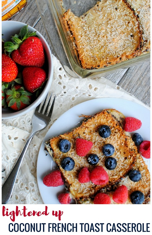 Coconut French Toast Casserole (easy overnight French toast casserole - lightened up!)