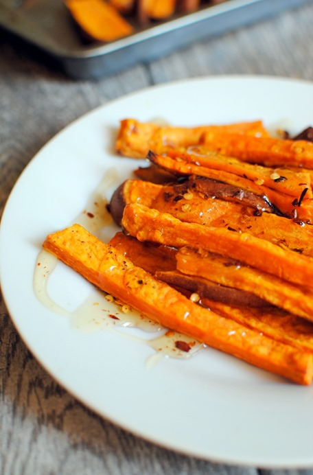 Roasted Sweet Potato Fries with Honey Drizzle