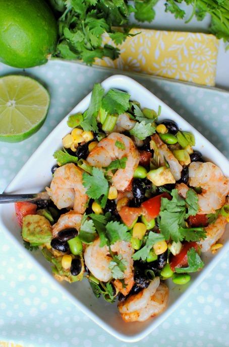 Edamame Black Bean Salad with Shrimp