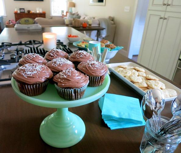 Homemade Chocolate Cupcakes with White Sprinkles