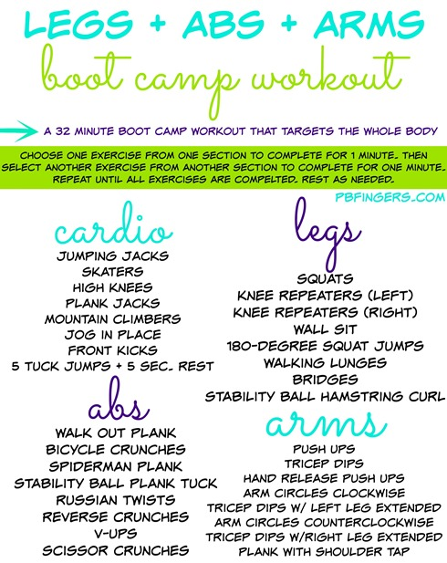 Legs Abs and Arms Boot Camp Workout