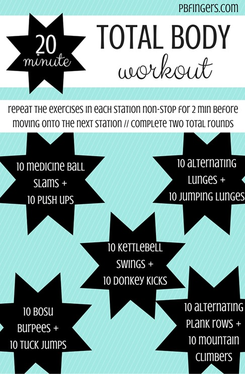20 Minute Total Body Workout -- Complete each exercise pairing for 2 min before moving onto the next pair. Complete 2 total rounds.