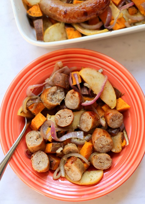 Chicken Sausage and Sweet Potato Bake