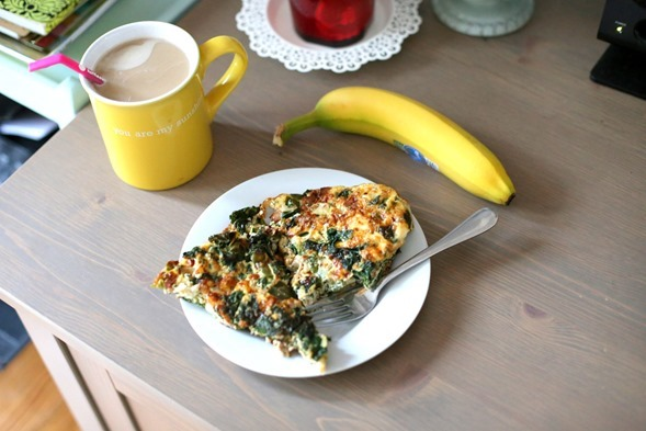 frittata and coffee breakfast