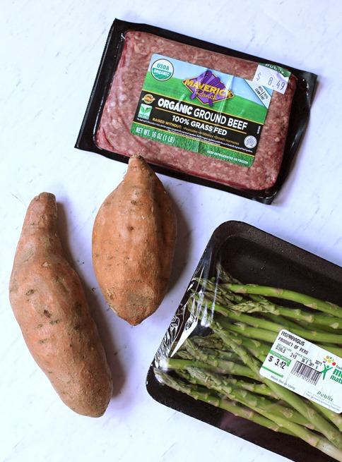 meatloaf asparagus sweet potatoes