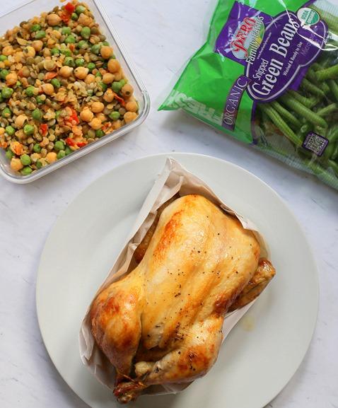 rotisserie chicken lentils green beans