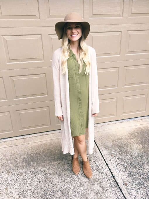 army green shirt dress sleeveless