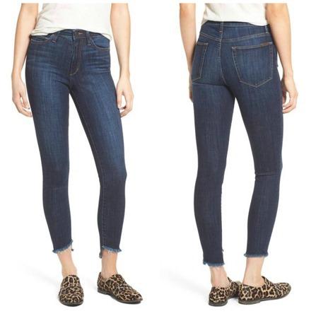 high waisted frayed ankle jeans