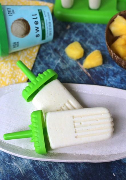 High Protein Pina Colada Popsicles