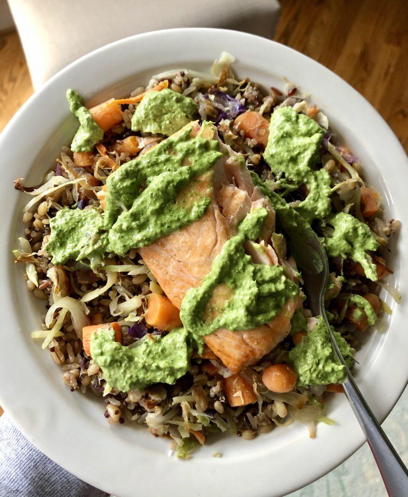 Salmon with Green Tahini Sauce