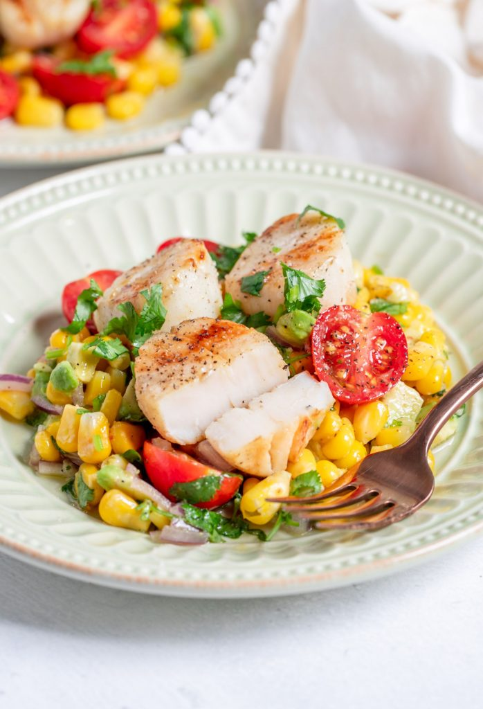 Grilled Scallops with Sweet Corn and Tomato Salad