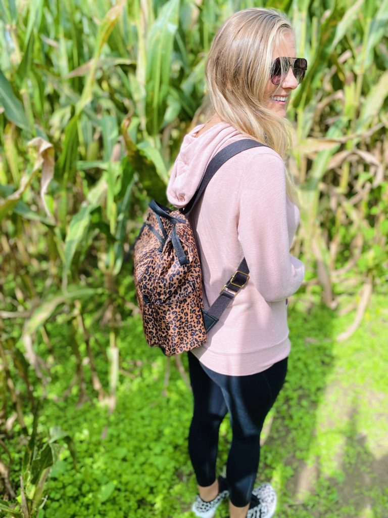 fossil leopard backpack
