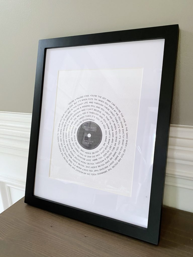 wedding song record print