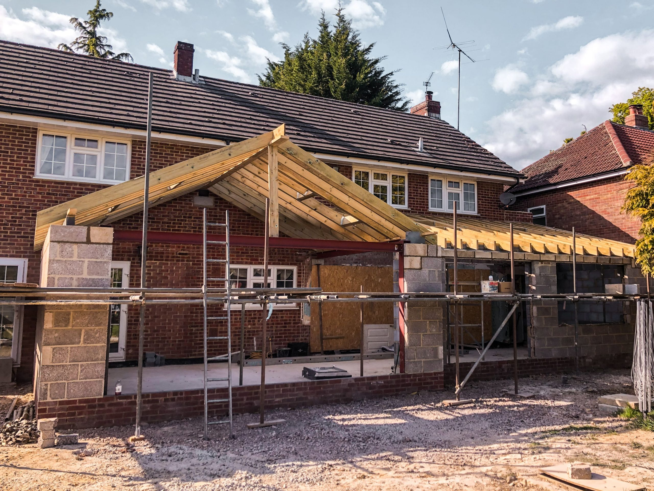 Extension & Hand-Cut Roof by Builders in Newbury