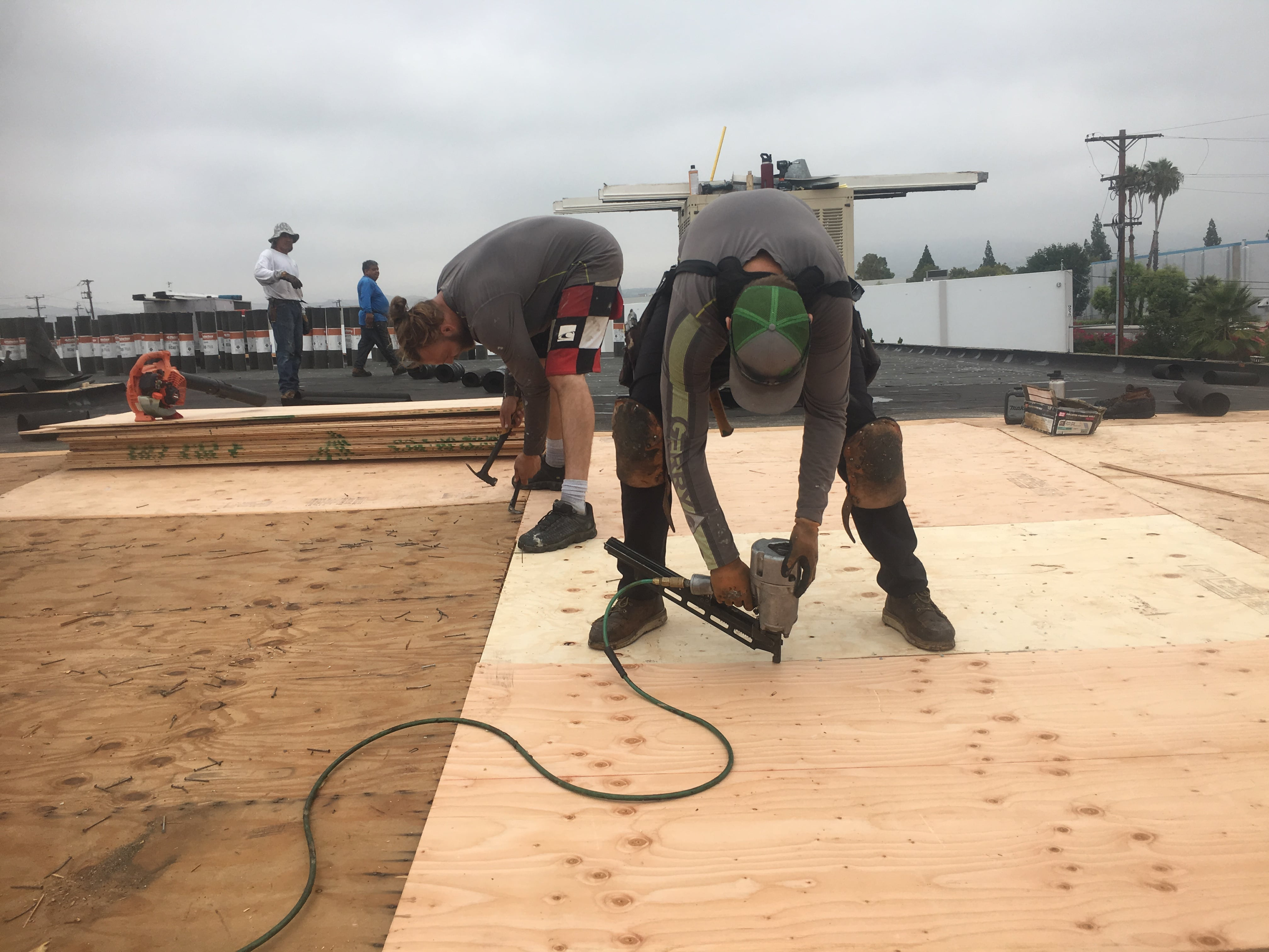 New sheeting on Los Angeles flat roof