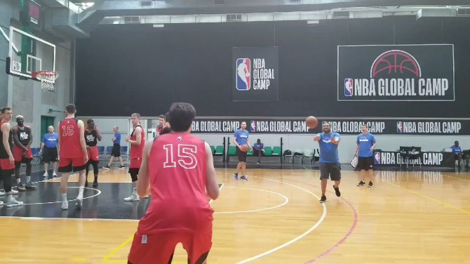 RT @DraftExpress Japanese wing Yuta Watanabe going through a NBA range shooting drill at the NBA Global Camp in Treviso. Watanabe measured 6'8 barefoot today. Has had a very solid camp overall, especially defensively.