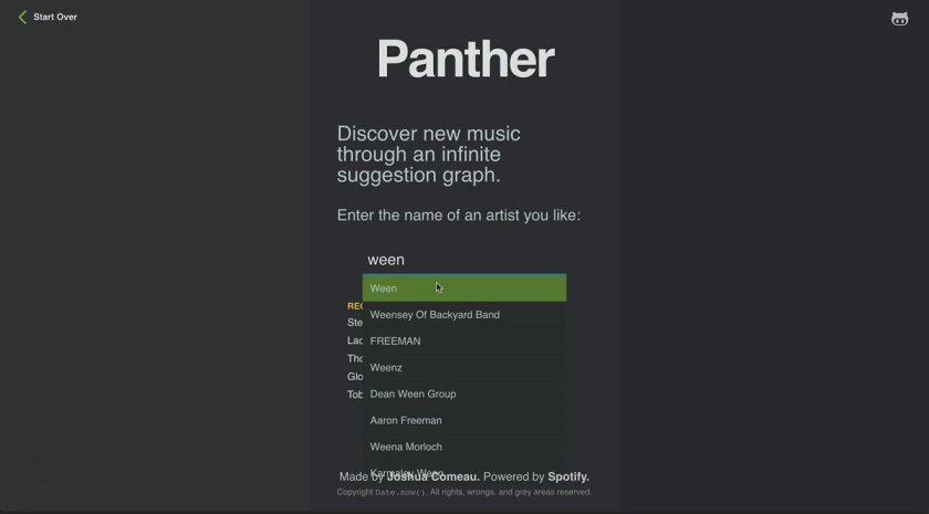 panther by @joshwcomeau: Fun: discover artists through an infinite node graph.  #reactjs
