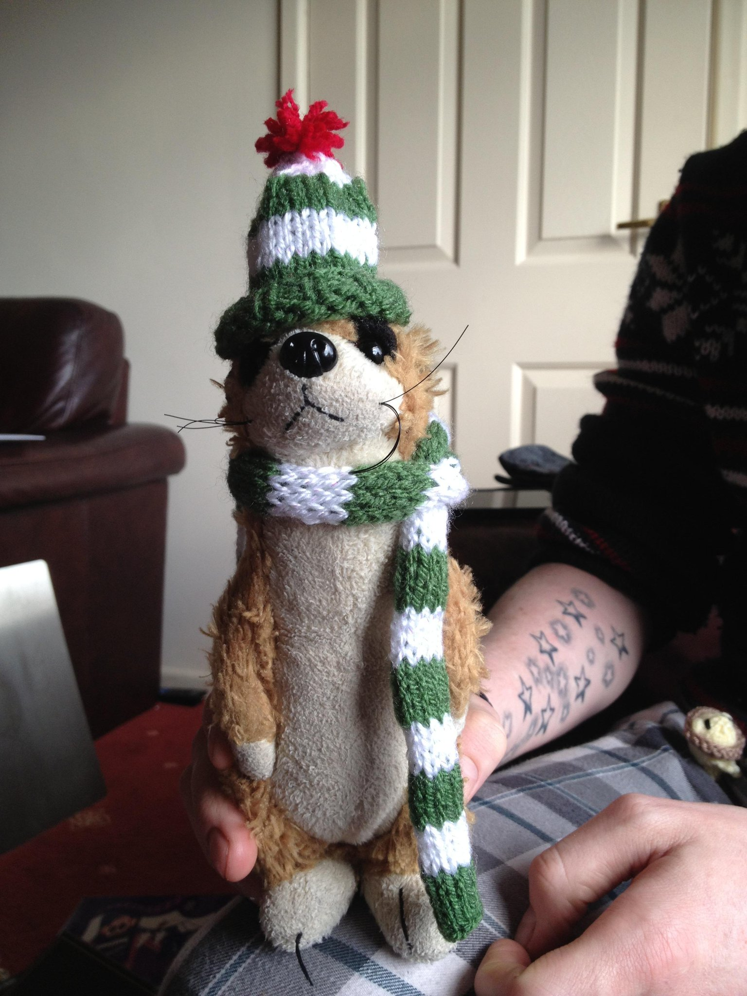Michael Meerkat with hat and scarf