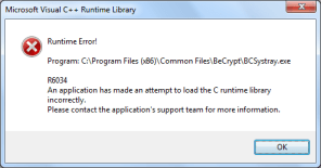 Runtime Error! Program: C:\Program Files (x86)\Common Files\BeCrypt\BCSystray.exe R6034 An application has made an attempt to load the C runtime library incorrectly. Please contact the application's support team for more information