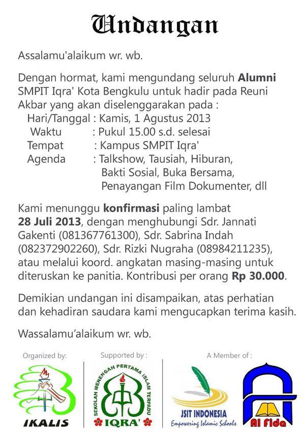 R Muhammad Fajri Pa Twitter Undangan Reuni Akbar Alumni Smpit Iqra