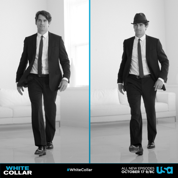 Neal Caffrey con y sin Fedora.  Fuente de la imagen: White Collar / Twitter
