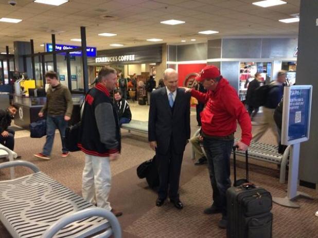 Elder Russel M. Nelson at Salt Lake airport.