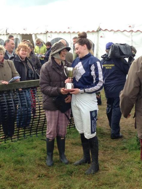 Jacqueline Coward wins best riding performance of the day at Bratton Down last Sunday