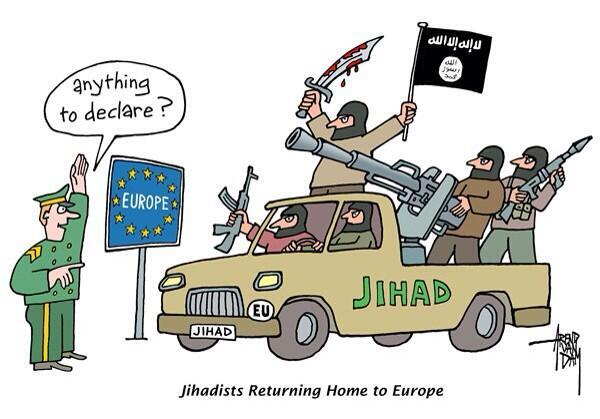 RT @Joyce_Karam Witty Cartoon on foreign Jihadists threat returning to #Europe. #ISIS #Syria #Iraq http://t.co/3oX5oqcIzE