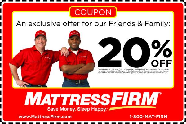 Mattress Firm On Twitter Q6 Please Enjoy This 20 Off Coupon For Your New Purchase In Home Homechat Http T Co Ke6nlfybbd