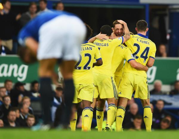 Chelsea players celebrate another goal [via @PremierLeague]