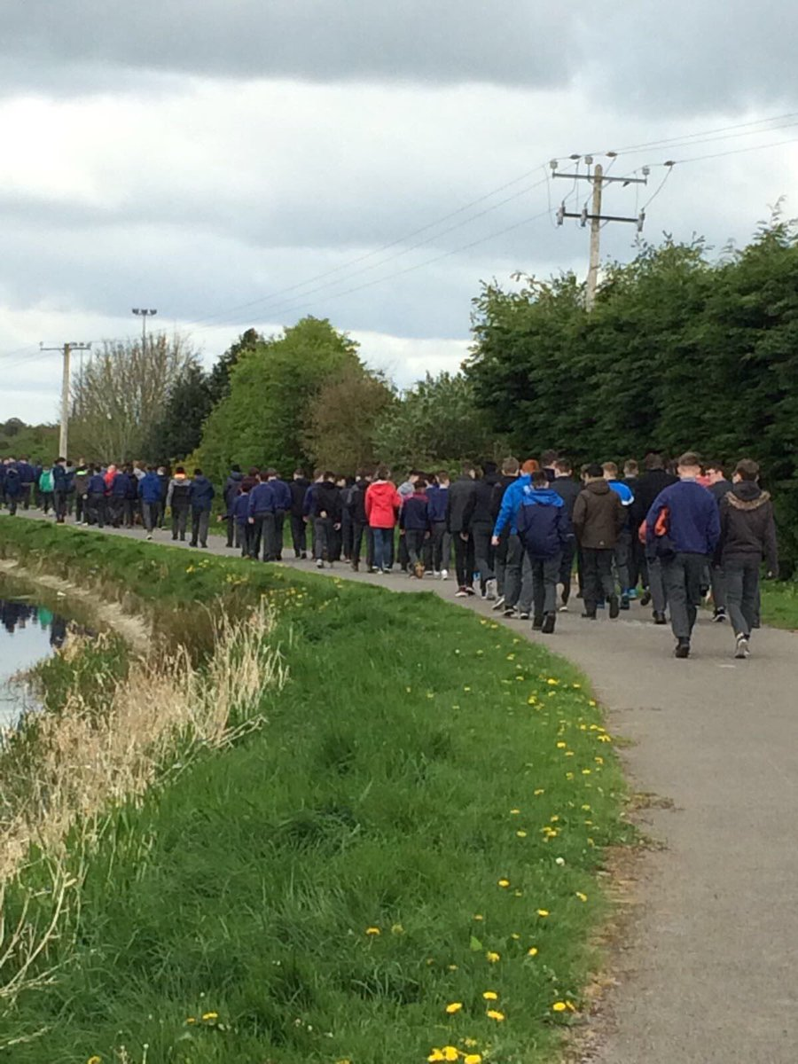 Second year students blowing off the cobwebs today on the 5k canal bank walk for #activeschoolsweek