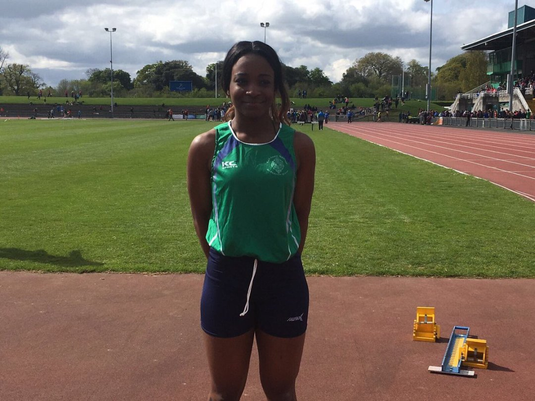 Well done to our 6R student Maïmouna fané Winner of the Senior Girls 100m at the North Leinster Schools competition yesterday 🏆#athletics