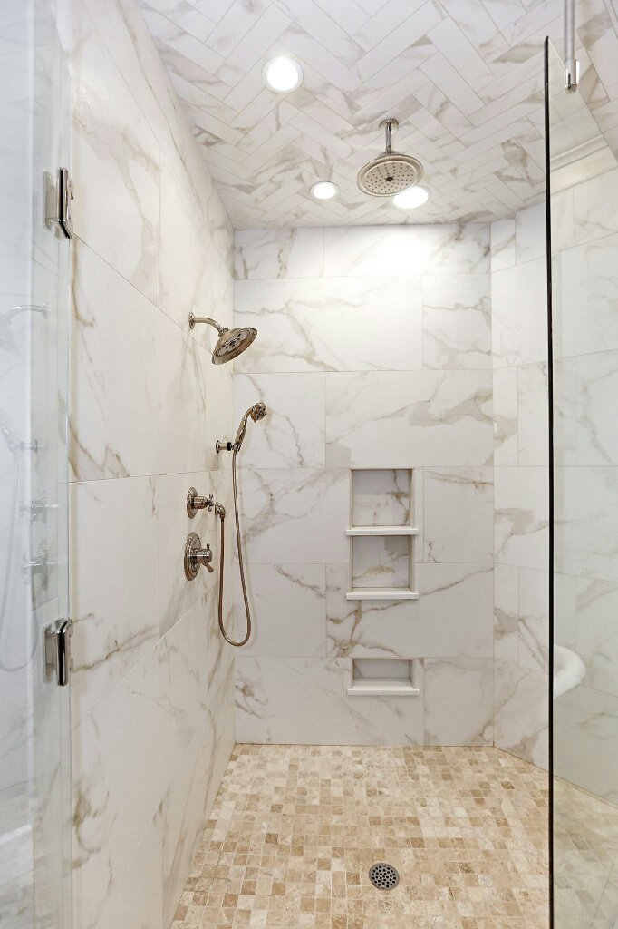 luxurious shower blast calacatta