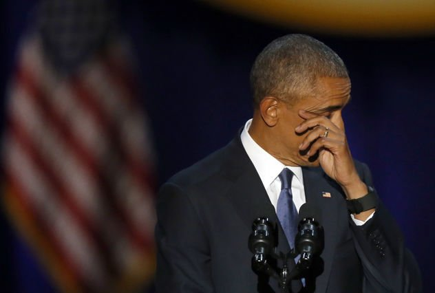 Forceful and tearful, Obama says goodbye in emotional speech