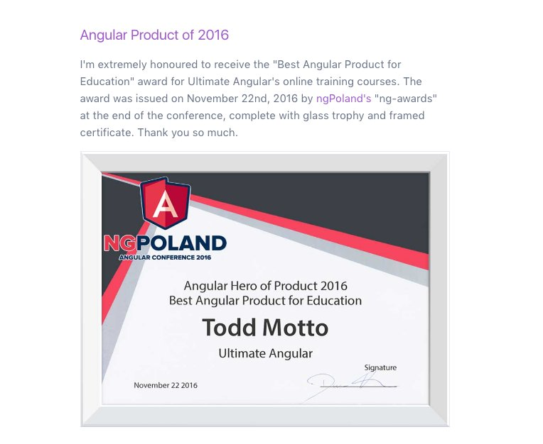 Just added the very kind award from @ngPolandConf to the Ultimate Angular about page! :D