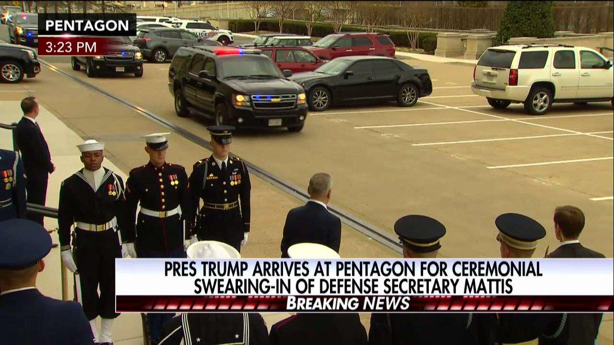 .@POTUS arrives at Pentagon for ceremonial swearing-in of Defense Secretary Mattis.